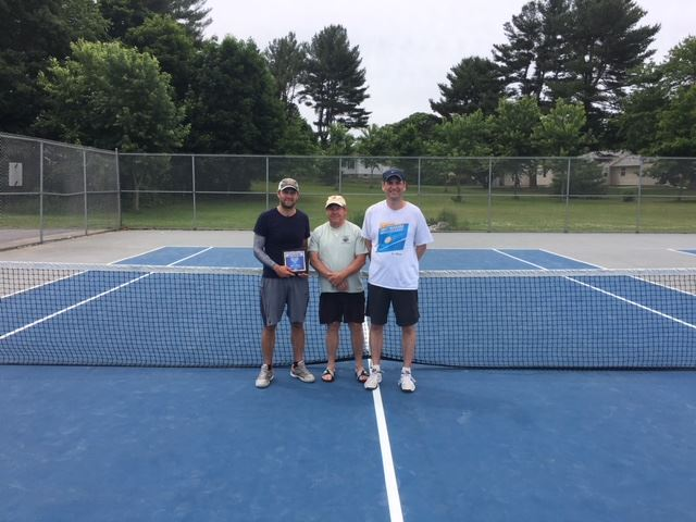 2018  Mens Open - Finalist Andrew Bennett, Tournament Director Paul Parry, Champion Greg Bartek