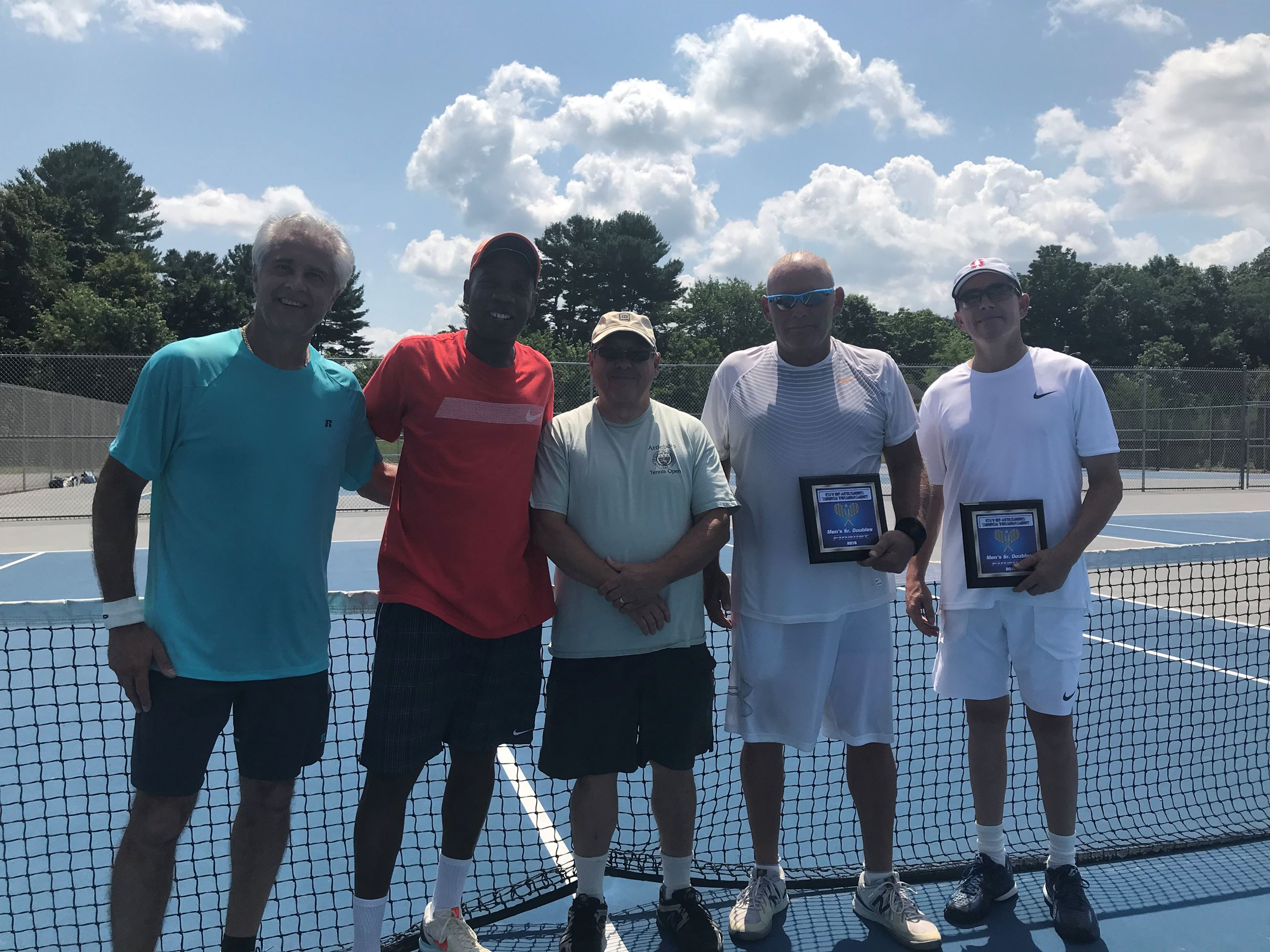 2018 Mens Sr Doubles - Champions Manny Pacheco and Manny Toppins  -  Tournament Director Paul Perry
