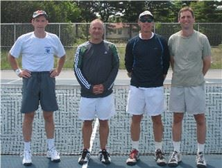 Four men in front of a tennis net