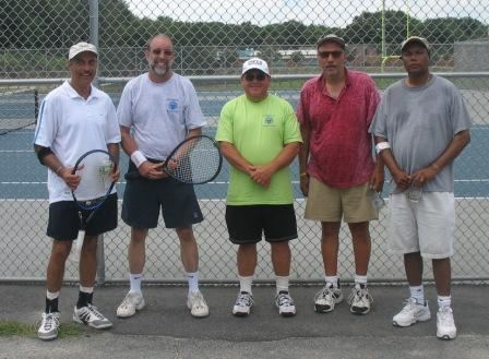 Five men, two holding tennis racquets
