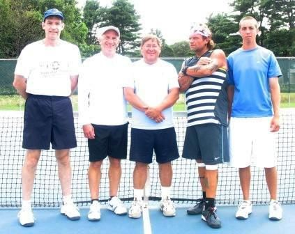 Group of men by a tennis net