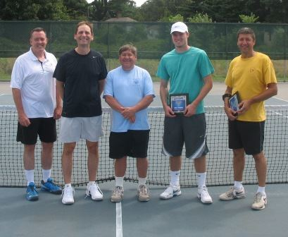 Five men in front of a tennis net, two have awards