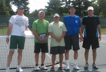 Five men in front of a tennis net, one has an award