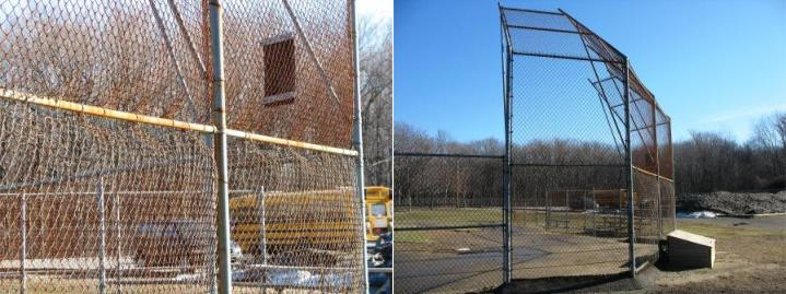 Updated baseball fence by a school bus