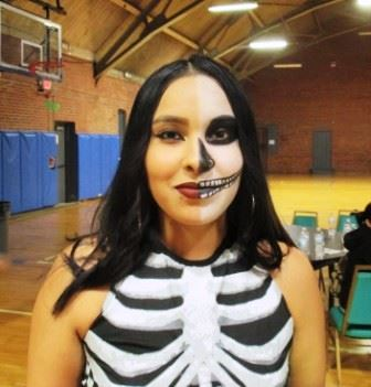 Woman with skull black and white makeup