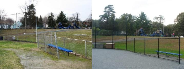 A renovated baseball fence with a blue bench