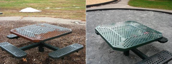 A park table that was updated